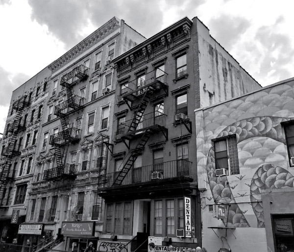 Heritage buildings in black and white