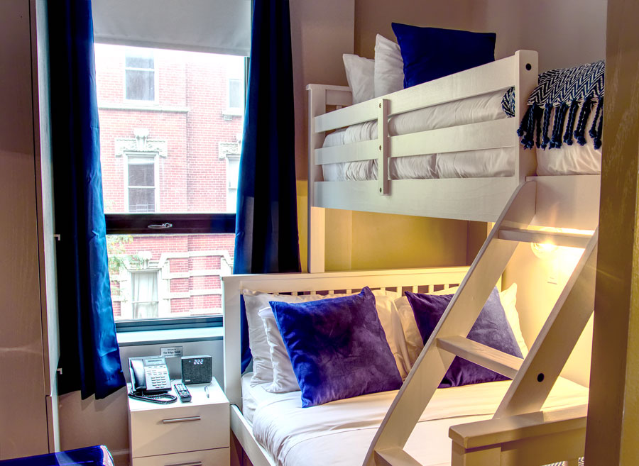 Room with window and bunk beds